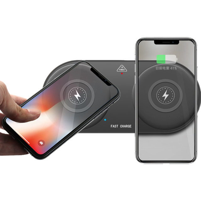 10W Fast Wireless Charging Pad Dual Wireless Charger For iPhone X XS Max Xr 8 Plus Samsung S9 S8 Note 8 9 Desktop Phone Chargers