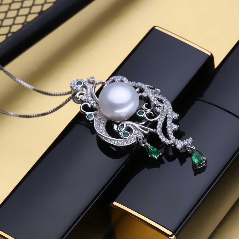 FENASY 925 sterling silver phoenix สร้อยคอ pearl เครื่องประดับสร้อยคอไข่มุกสร้อยคอและจี้ Emerald สร้อยคอ Bohemian