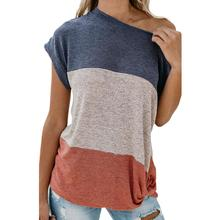 Women's Solid Color Stitching Striped Knotted V-Neck Off-Shoulder Top off the shoulder striped top