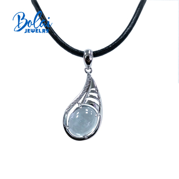 Bolaijewelry,aquamarine pendant natural light-color gemstone oval 925 sterling silver fine jewelry for women anniversary gifts