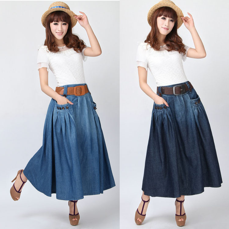 Makuluya été automne printemps femmes nouvelle mode Long Denim lâche décontracté élastique taille jupes bouton décoration avec ceinture QW - 4