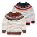 Niños suéteres nuevo otoño de lana peinada del algodón del bebé niños grandes niñas suéter suéter de punto cardigan niños ropa de cuello redondo