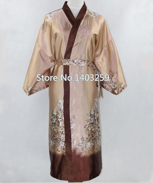 Novedad Camello Macho Albornoz Kimono De Seda Vestido Chino Hombres Rayón Ropa de Dormir Unisex Tres Cuartos ropa de Dormir Pijama Plus Size NR006