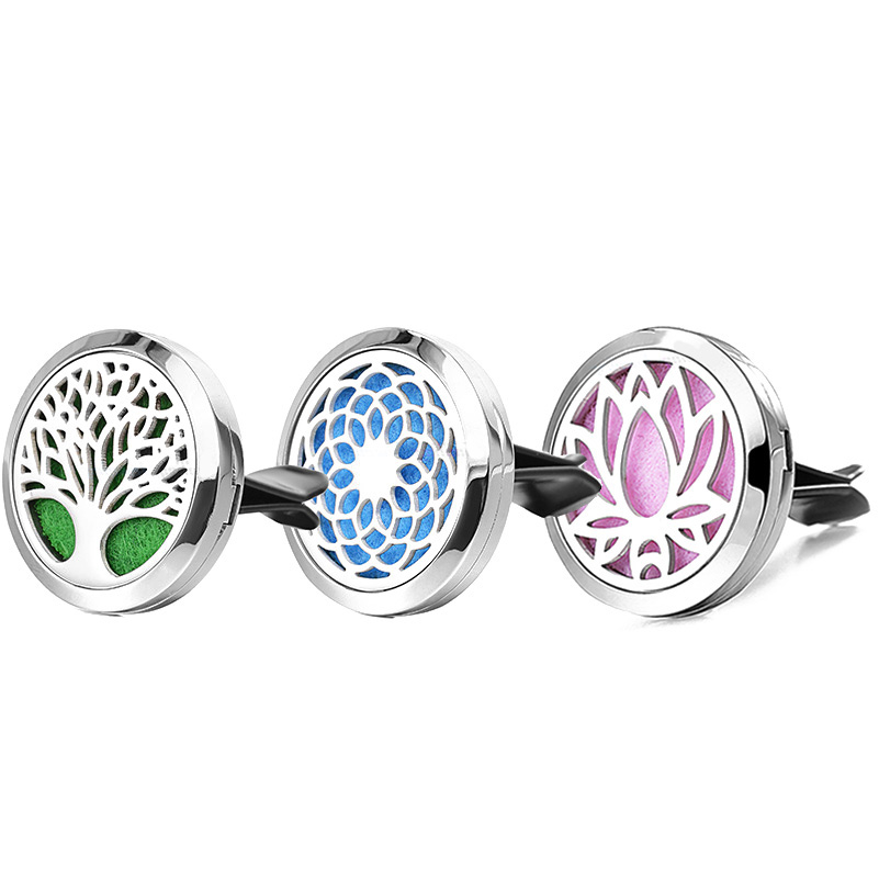 Dream Catcher Tree Rostfritt stål Locket Car Clips Tillbehör eterisk olja Aromaterapi Diffuser Locket hänge bil diffus