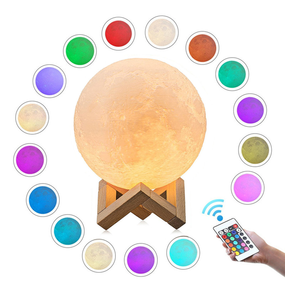 USB Rechargeable 3D Print Moon Lamp Touch 2 Color Change 3D Moon Lamp 16 Colors USB Led Night Light Moonlight Gift Lampara Luna