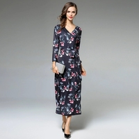 Fashion Women Bodycon Dress Autumn Winter Flowers printed Dress Vestdos Solid Long Sleeve Package Hip Dress Vestidos