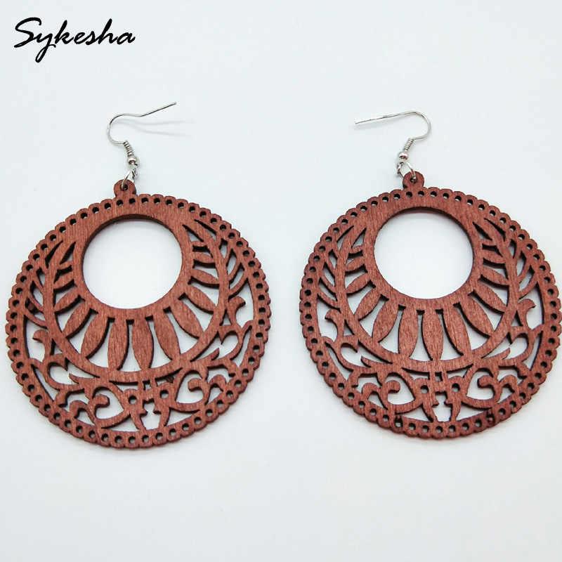 Vintage wooden earrings  Round cut wooden earrings