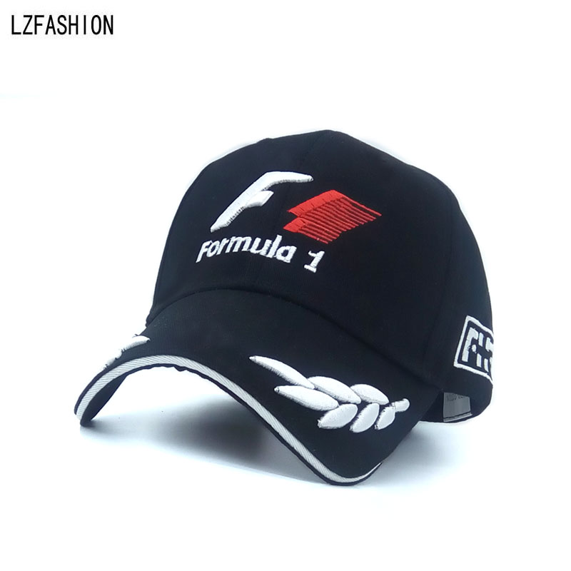 2016 New Black F1 Racing Team Hat Embroideried Letters Wheat F1 Formula One Team font b