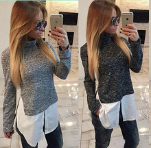 สตรีผ้าฝ้ายคอเต่าเสื้อยืดแขนยาวเย็บปลอมสองชิ้นเสื้อสำหรับฤดูใบไม้ร่วง/ฤดูหนาวแฟชั่นเสื้อกันหนาวเสื้อผ้า