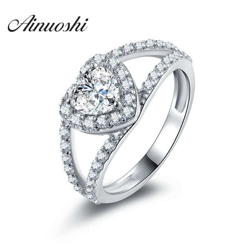 AINUOSHI Heart shape Halo Ring Romantic Eternity Jewelry ...