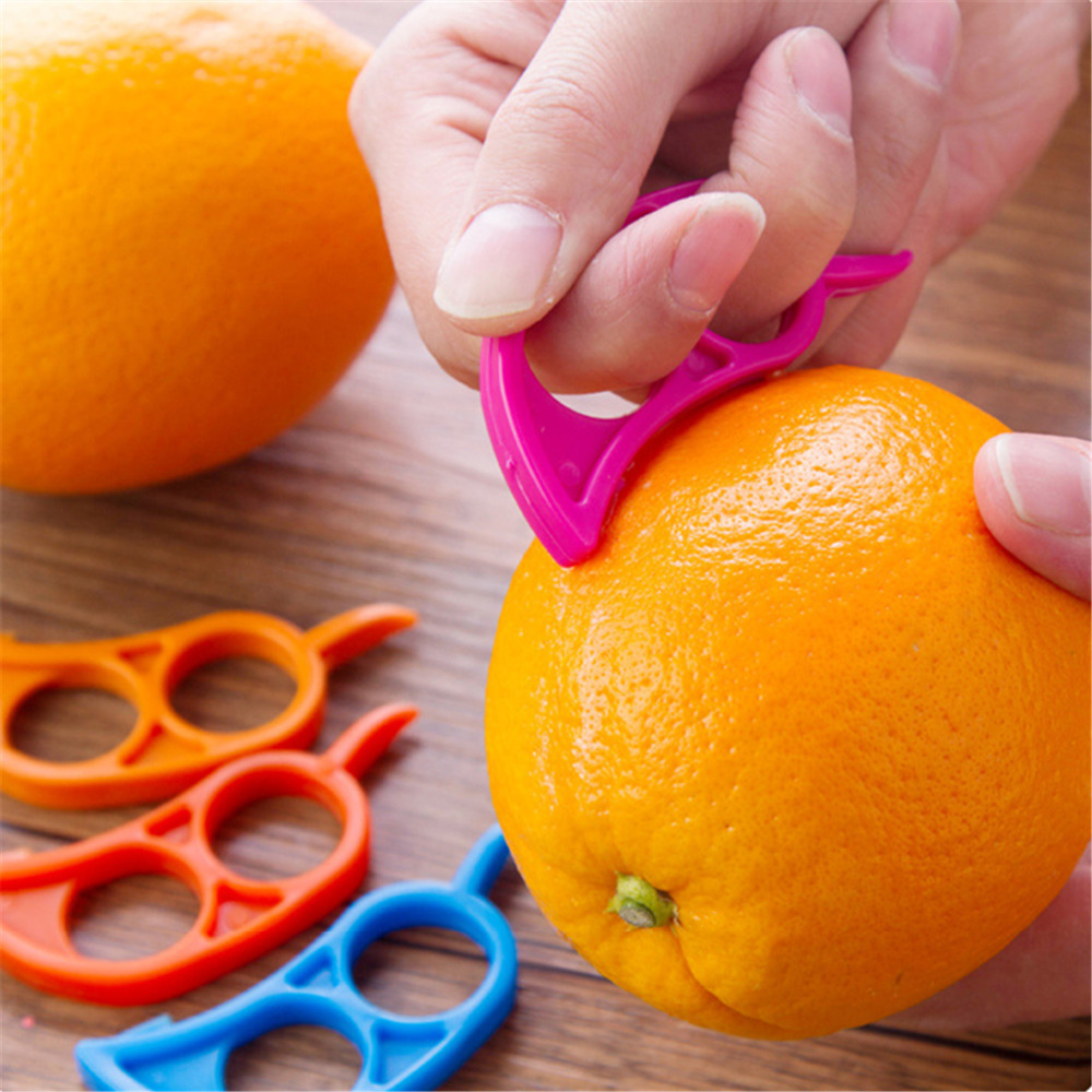Plástico orange peelers zesters lemon pomelo fruta slicer cortador abridor de co