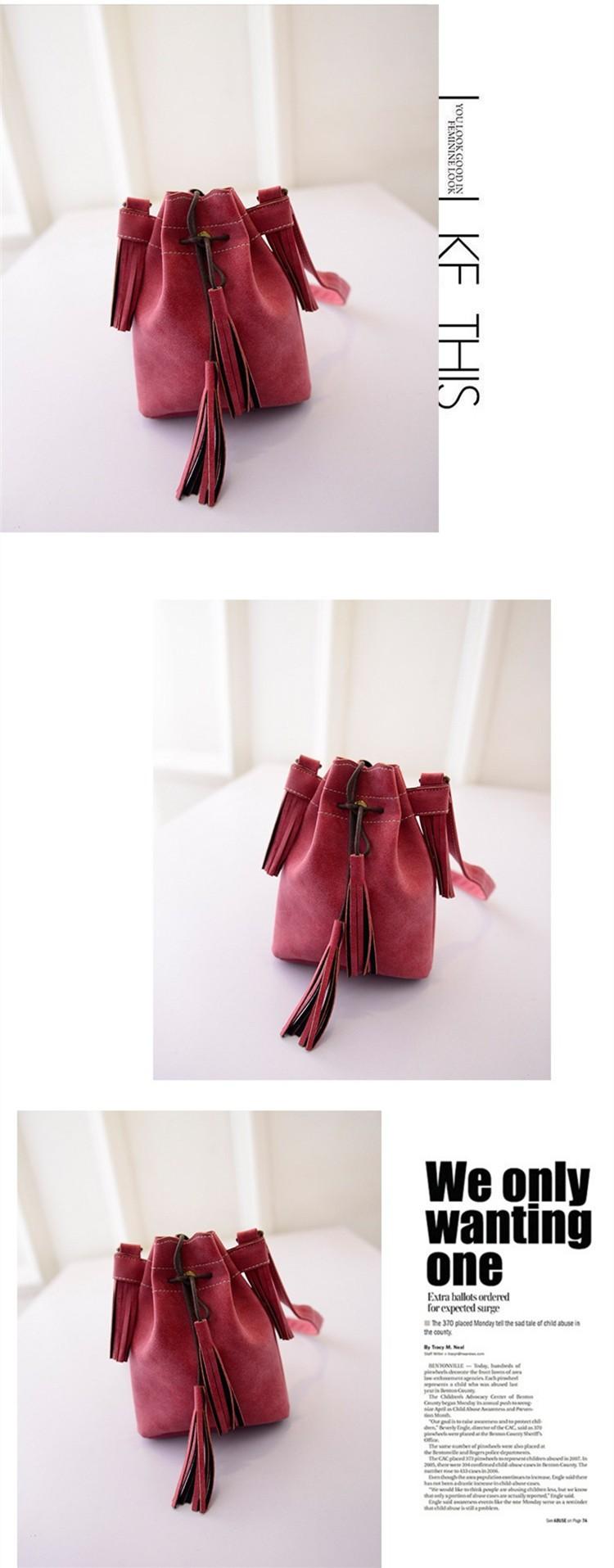Vintage Bucket Women Shoulder bags Fashion Tassel bags Small Women messenger bags Spring Handbags Tote bolsas femininas BH237 (4)