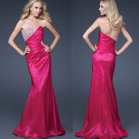 2018 new fashion sexy mermaid vestido de festa sweetheart sexy beading rose red long party prom Formal gown Bridesmaid Dresses