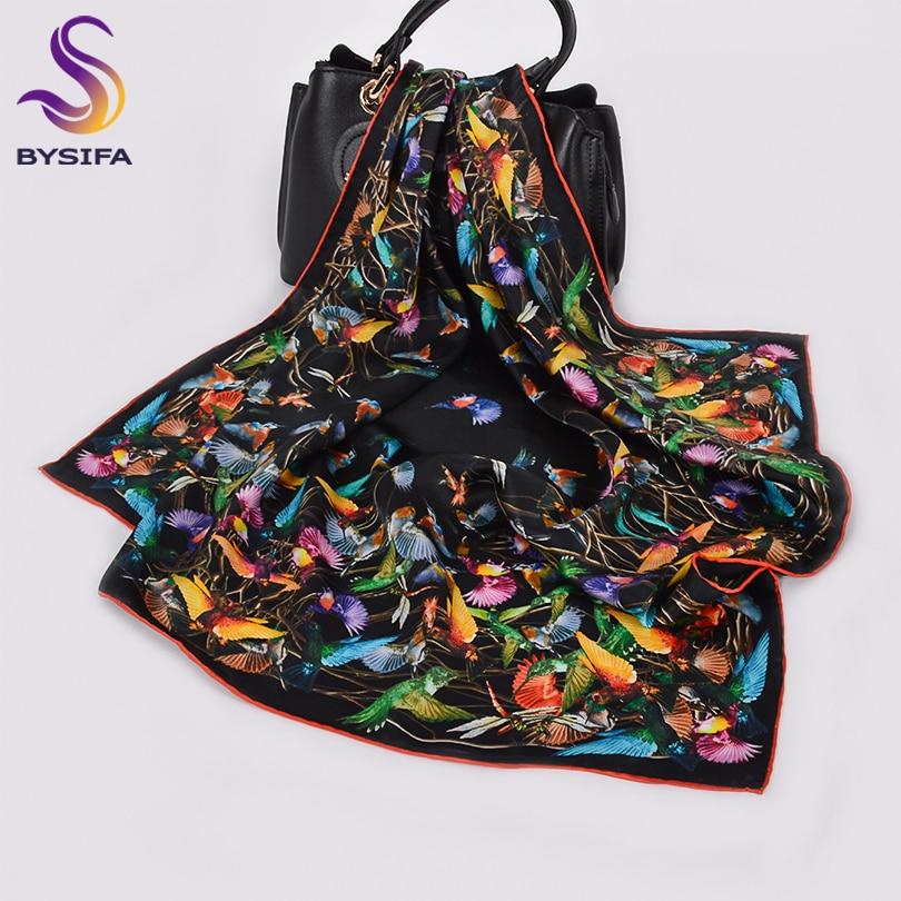 [BYSIFA] Black And White 100% Silk Scarf Hijab Women Brand Bird Design Square Scarves Shawls 68*68cm Fall Winter Neck Scarves