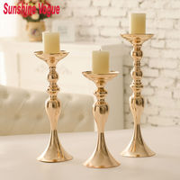 Gold Wedding Candle Holders Europe Style Flower Stands 3pcs Set Home Decoration Party Dinnerware Express Free