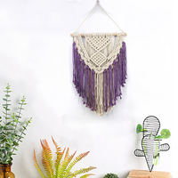 Purple Wall Hanging Bohemian Woven Cotton Rope Macrame Tapestry Beautiful Apartment Dorm Room Decoration Wedding Gallery Decor