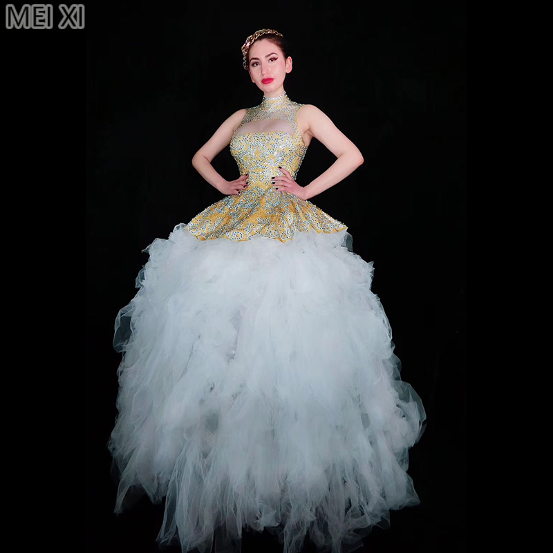White luxury atmosphere rhinestone lace dress birthday celebration party banquet evening dress concert ball singer costume
