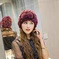 Winter Hats Woman Winter Han Banchao Leather And Fur Rex Rabbit's Hair Hats Old Lady The Elderly Mom Hat Quinquagenarian Hats