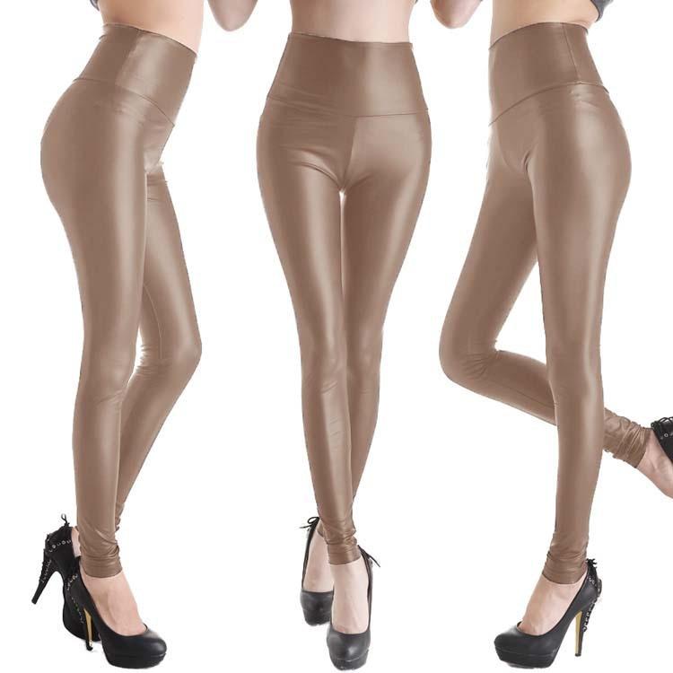 50PCS/LOT New Women Sexy Leggings Faux Leather Stretch Legging High Waist Leggings Juniors Pants 4 Size 19 Colors
