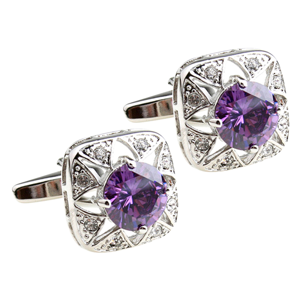 High - end luxury cufflinks, exquisite crystal jeweled rhinestones, covered with square bullet cuff links to French shirt access