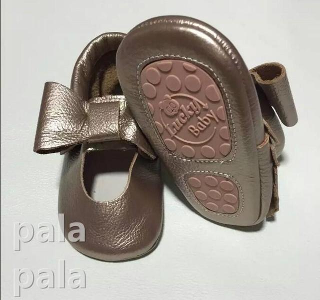 Franja bebé mocasines Mariposa-nudo Del estilo Del Niño con suela de goma de mary jane Zapatos Primer Caminante de Prewalker del bebé Niños