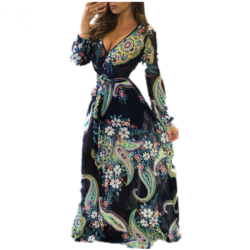 New Boho Women Maxi <font><b>Dresses</b></font> <font><b>Navy</b></font> V Neck Long Sleeve Fashion Elegant With Button Floral Long Giraffe Printing Party <font><b>Dress</b></font>