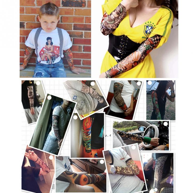 Men's Arm Warmers Halloween Tattoo Sleeve Trendy Men Women New High Elastic Fake Temporary Tattoo Sleeve Designs Party Arm Decor Supplies