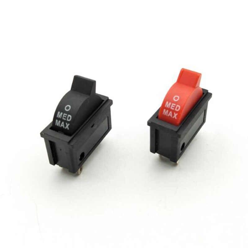 1 PCS 10A 250 V Nero Rosso Vento Pulsante di Controllo della Velocità Interruttore A Bilanciere 3 Posizioni 3Pin SPDT Interruttore Per I Capelli asciugatrice