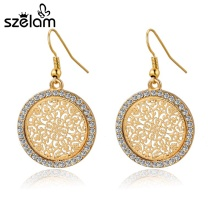 Szelam 2017 Jewelry Tree Drop Earring For Women Vintage Gold Color Crystal Round Earring Fashion Jewelry SNE140389(China)