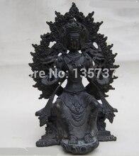 Shitou 00870 Тибет Буддизм Фейн Superb Чистая Бронзовый Кван-Инь Тантра Статуи Будды Майтреи