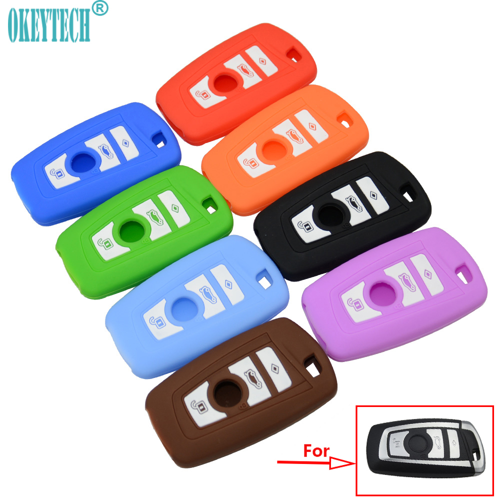 OkeyTech Silicone Car Key Cover Case For BMW 1 2 3 5 7 Series F10 F20 F30 335 328 535 650 Remote Key Shell 3 Buttons Car-Styling цена 2017