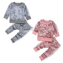 0cc7156f0c32a Automne Enfants Bébé Velours À Manches Longues Top Blouse + Long Pantalon  Tenues Set Vêtements(