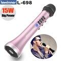 Lewinner L-698 Профессиональный 15 Вт Портативный USB беспроводной Bluetooth караоке микрофон динамик с динамическим микрофоном