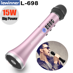 Lewinner L-698 professional 15W portable USB wireless Bluetooth karaoke microphone speaker with Dynamic microphone