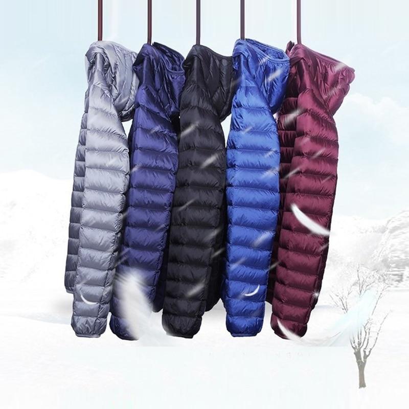 2020 Winter Fashion Brand Ultralight Duck Down Jacket Mens Hooded Streetwear Light Feather Coat Waterproof Warm Mens Clothing