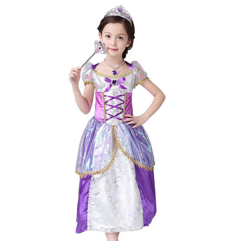Princess Fantasia Vestidos,2016 Children Kids Cosplay Rapunzel Costume Princess Wear Perform Clothes party dresses teen titans starfire tamaran princess cosplay costume f006