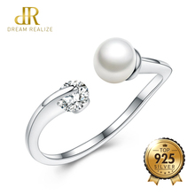 DR Star with the Same Opening Ring Can Turn Zircon Genuine Pearl S925 Rings for Women 925 Sterling Silver Wedding Bride Jewelry