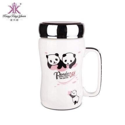 450ml Large Capacity Portable Ceramic Mug with Lid Sealed Leakproof Cute Cartoon Panda Painted Water Mug Gift Free Shipping