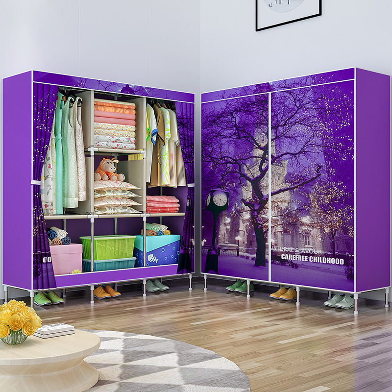 COSTWAY Cloth Wardrobe For clothes Fabric Folding Portable Closet Storage Cabinet Bedroom Home Furniture armario ropero muebles-in Wardrobes from Furniture    2