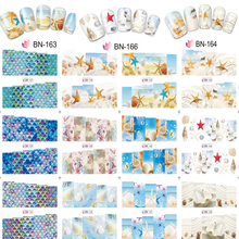 цена на 12 Styles! 12 Pcs In One(12 Sheets=1 Set ) Fashion Nails Art Manicure Decals Shell Design Water Transfer Stickers DIY Nails Tips