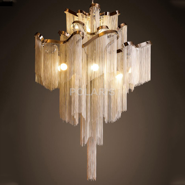 modern vintage lamp aluminum chain chandelier lighting luxury stair