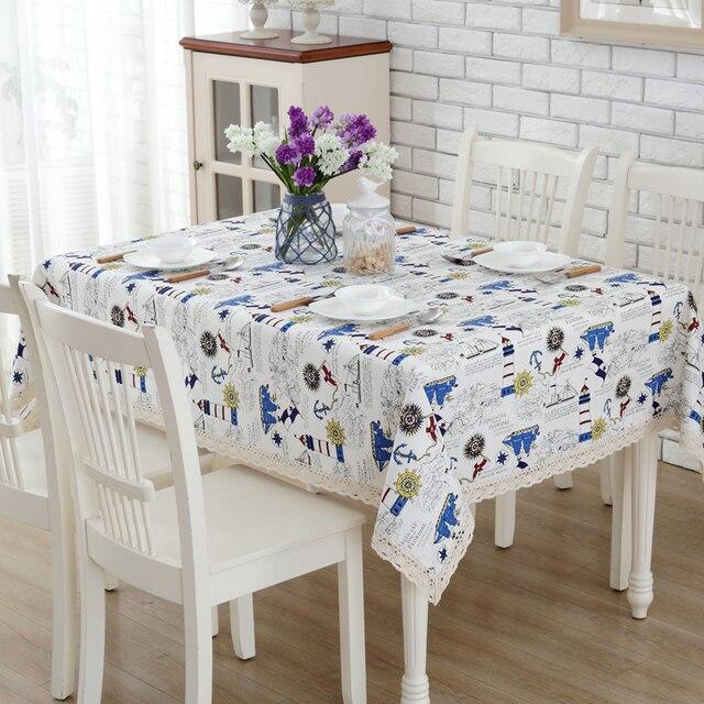 Envío libre algodón Manteles timón rectangular mesa de café tapetes ...