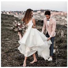 LORIE Boho Wedding Dress Sleeveless V Neck Lace A Line White Ivory Beach Bride Princess Gown Custom made  2019