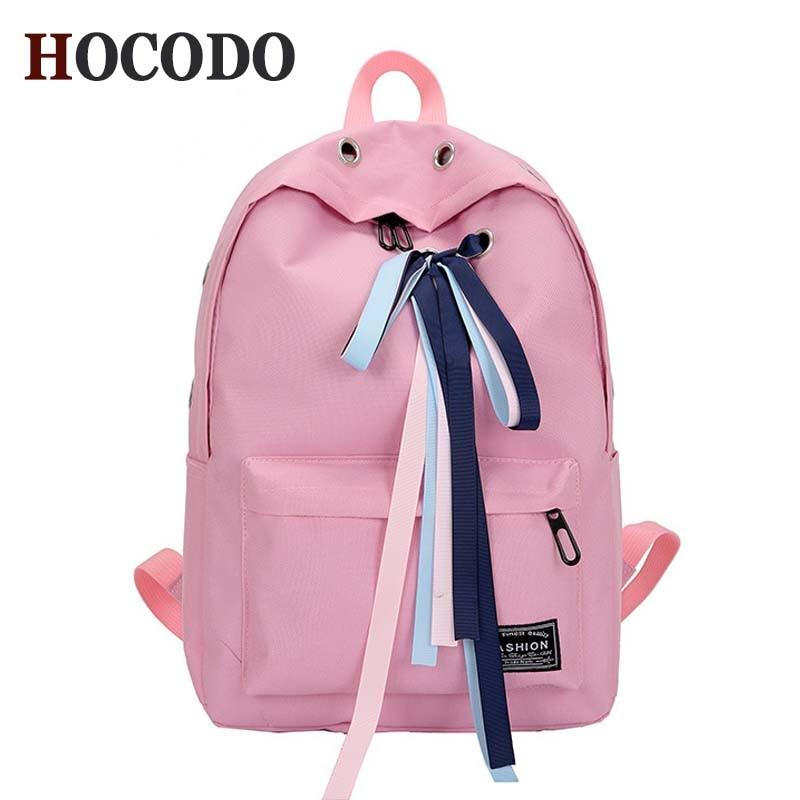 992516159c4b HOCODO колледж Стиль ленты рюкзак для лука Мода Tide женский рюкзак,  Студенческая сумка дорожная сумка