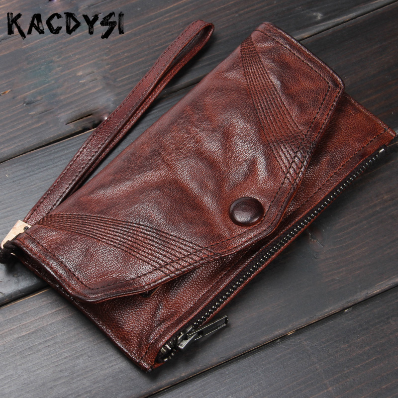 Top Quality Vegetable Tanned Leather Long Men Wallet Retro Slim Purse Original Handmade Wallet Cards Holder Clutch Bag Wristlets-in Wallets from Luggage & Bags    1