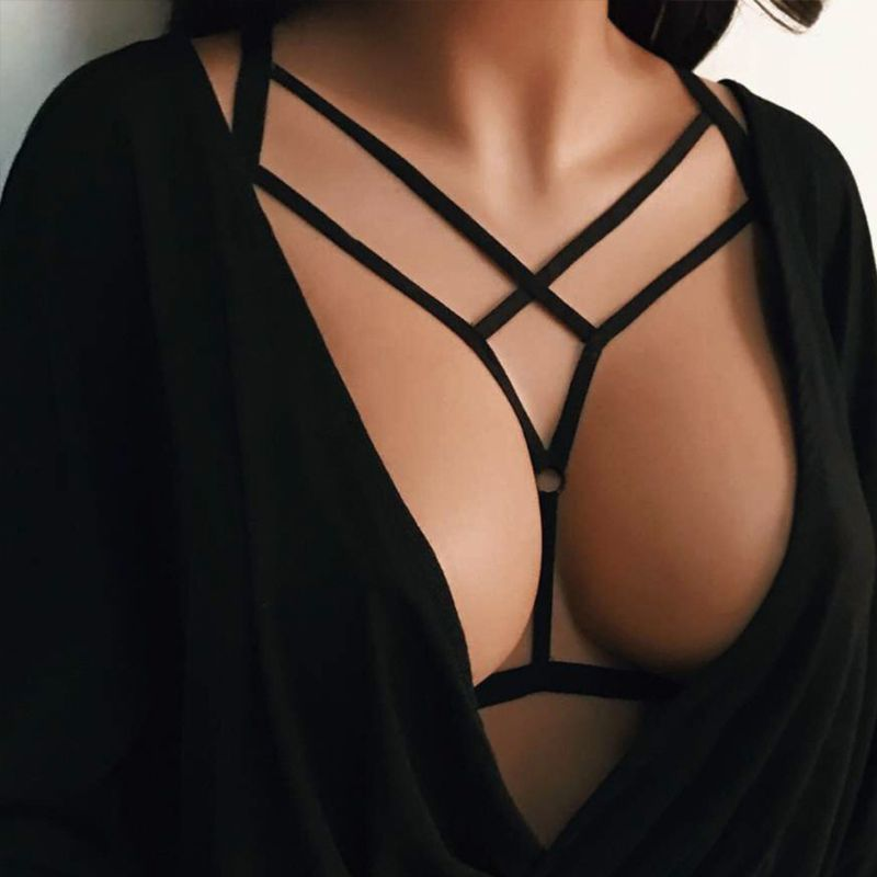 Women Erotic Hollow Out Alluring Harness Bra Elastic Cage Strappy Bandage Bustier Elastic Criss Cross Crop Top Clubwear Lingerie