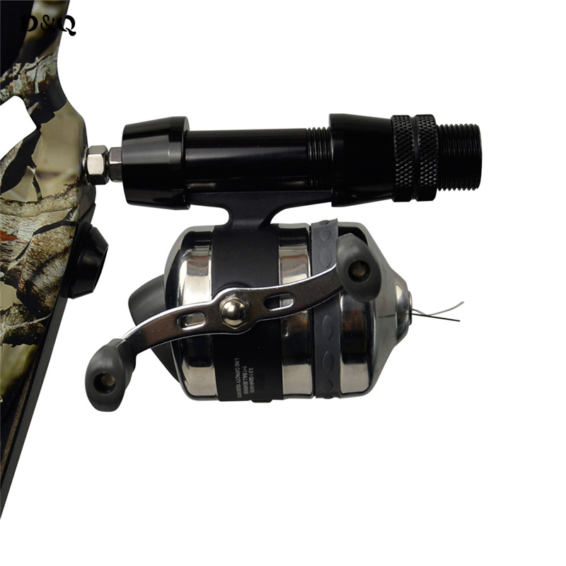 Archery Recurve Takedown Bow Slingshot Fishing Shooting Reels and Base with Gear Ratio 3.3:1 Line Capacity 10 LBS / 100 YDS