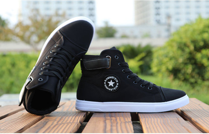 HTB1lCsdaNrvK1RjSszeq6yObFXaX Mens High-top Canvas Shoes Men 2020 New Spring Autumn Top Fashion Sneakers Lace-up High Style Solid Colors Man Black Shoes KA853