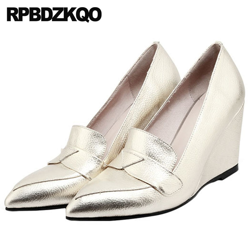Genuine Leather Ladies Pointed Toe High Heels Gold Women Shoes For Party Wedge China Pumps 2018 8cm Gun Color Size 4 34 Handmade 2018 handmade genuine leather women shoes high heels ladies blue evening pumps wedge size 4 34 china prom pointed toe famous