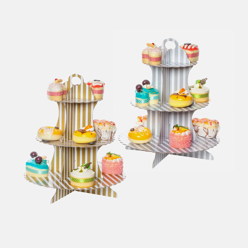 3 Tier Paper Cupcake Stand Dessert Candy Cake Stand Gold//Silver Party Decoration